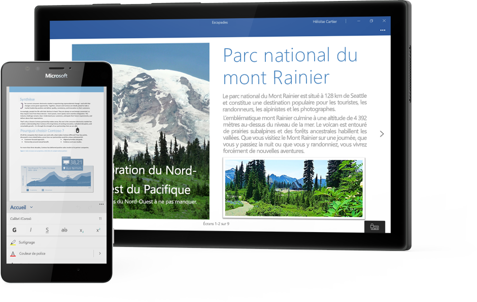 Tablette Windows affichant un document Word sur le Parc national du mont Rainier dans Word, et téléphone affichant un document dans l'application mobile Word