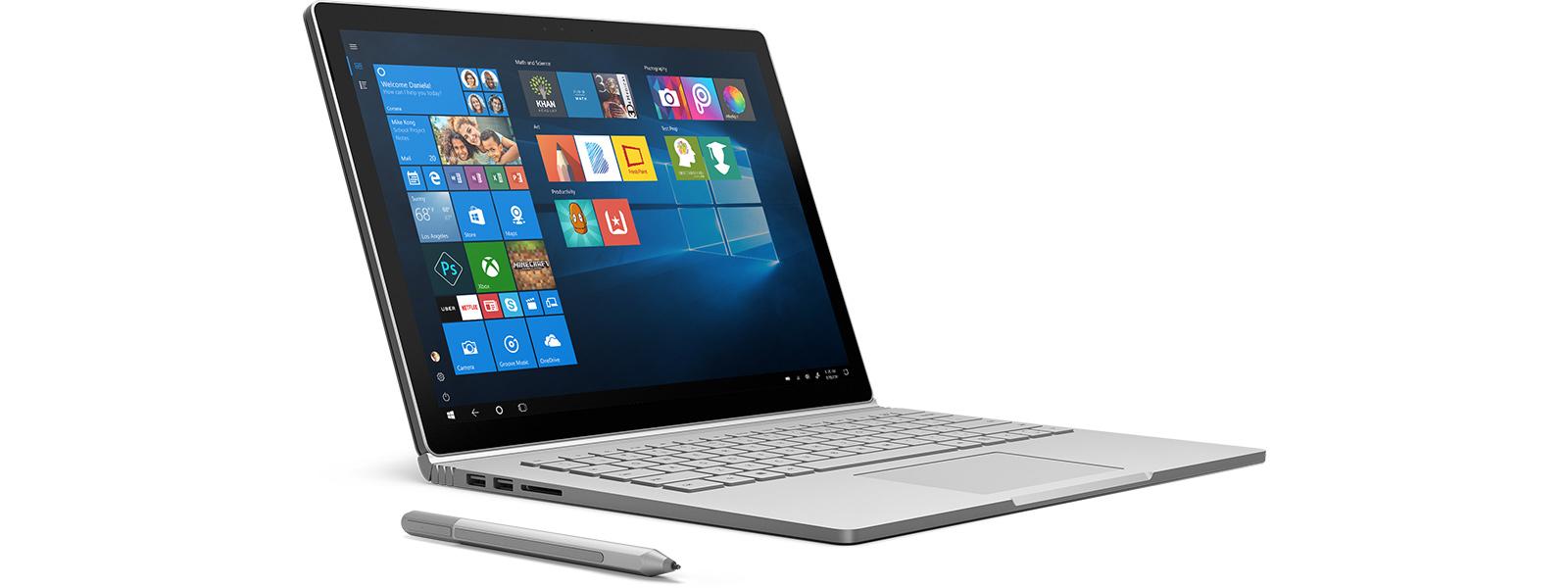 Appareil Windows10 affichant un écran d'accueil avec des applications.