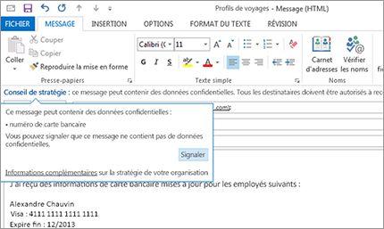 Gros plan d'un conseil de stratégie dans un message électronique destiné à empêcher l'envoi d'informations sensibles par les utilisateurs.