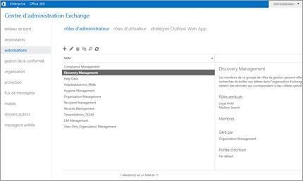 Capture d'écran de la page Autorisations du Centre d'administration Exchange, dans laquelle vous pouvez gérer les rôles d'administrateur.