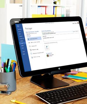 Écran d'ordinateur affichant les options de partage dans Microsoft Word.