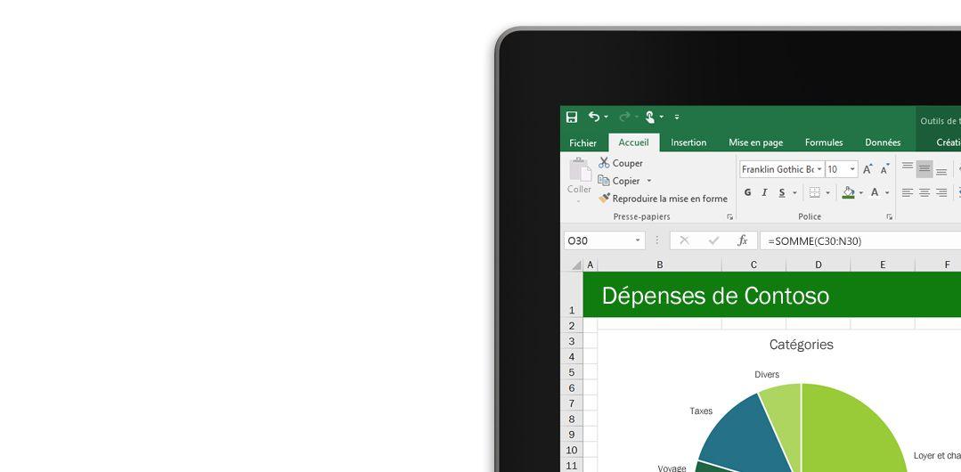 Ordinateur portable affichant une feuille de calcul Microsoft Excel avec un graphique.