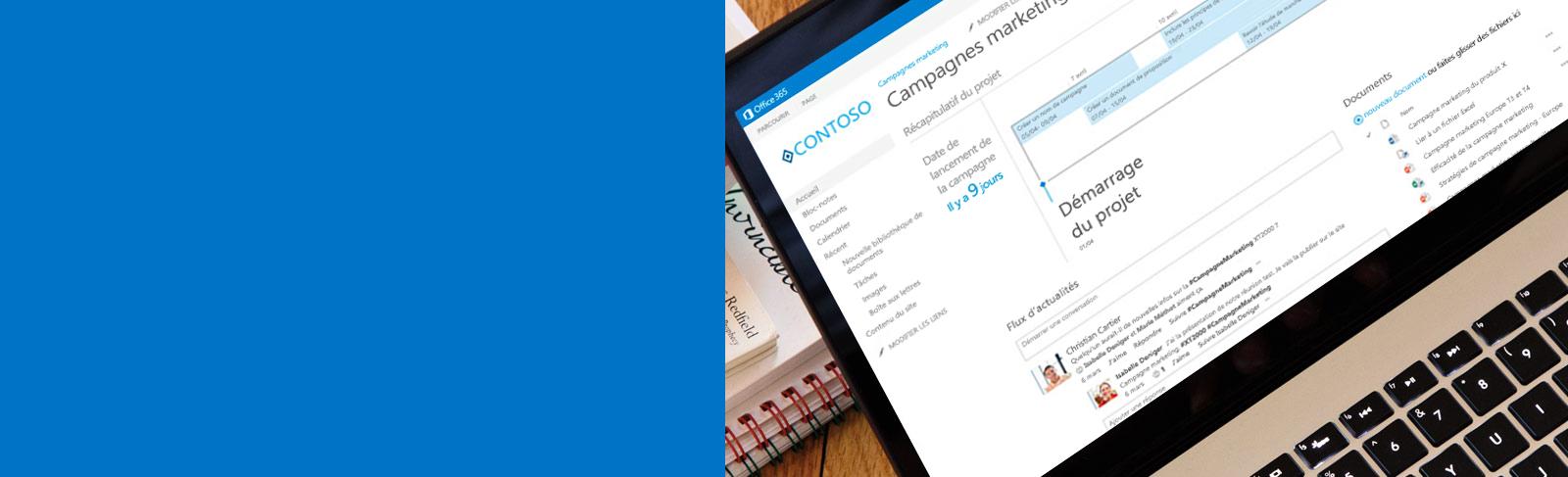 Ordinateur portable affichant un document consulté via SharePoint.