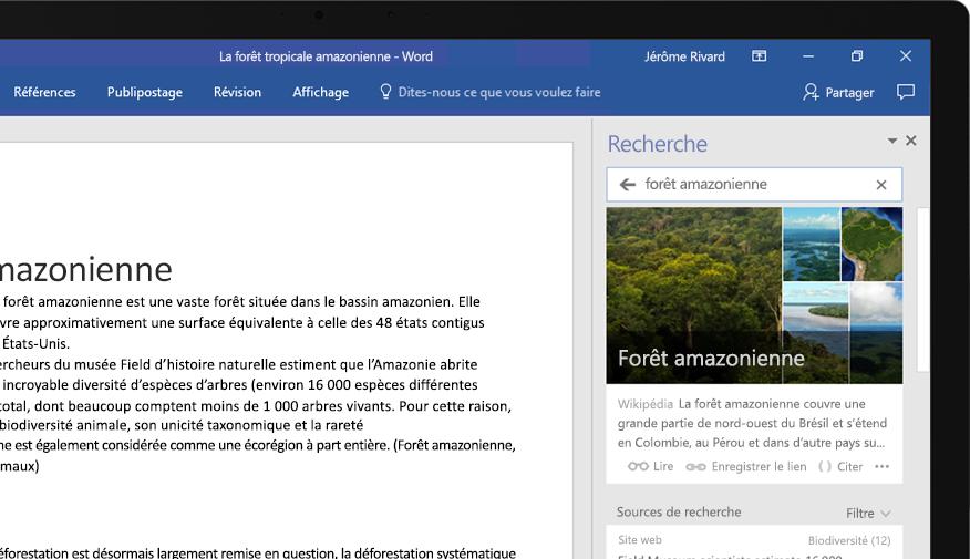 Ordinateur portable affichant un document Word et un gros plan sur la fonctionnalité Recherche, avec un article sur la forêt amazonienne