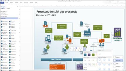 Un diagramme dans Visio, contenant des formes améliorées et des outils faciles d'accès.