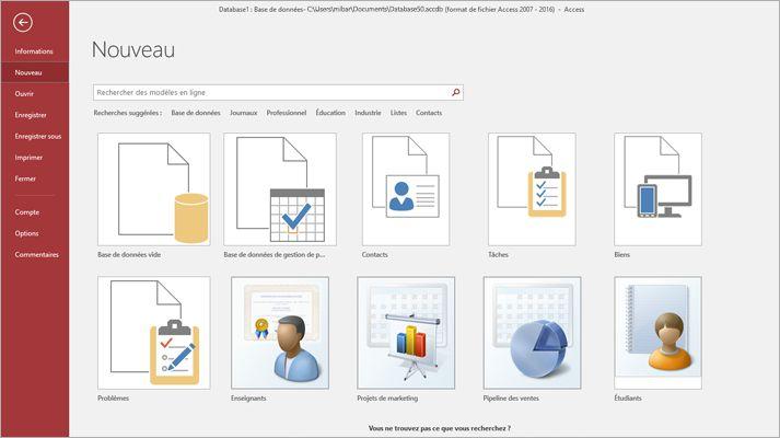 Écran Nouvelle base de données de Microsoft Access