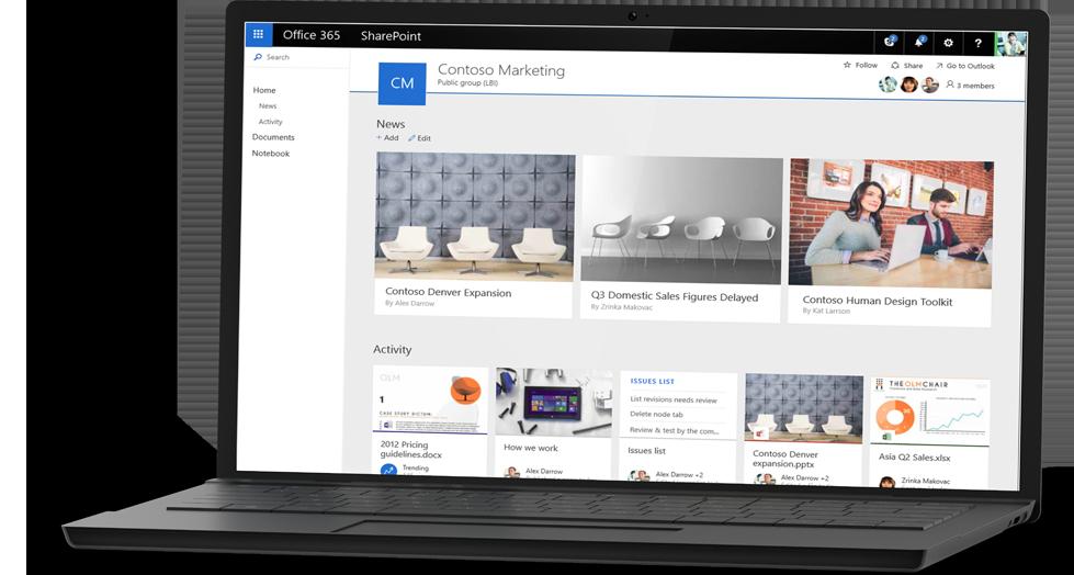 Capture d'écran du site d'exemple Contoso Marketing dans SharePoint Online