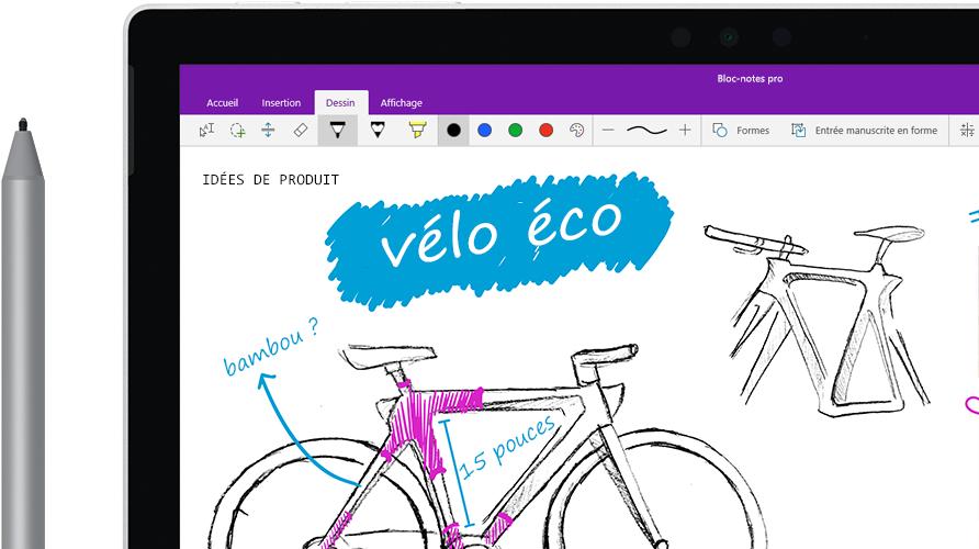 Stylet numérique dessinant une image de vélo appelé «Eco bike» sur une tablette.