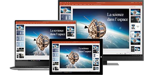 Écran d'ordinateur, ordinateur de bureau et tablette montrant une présentation relative à la science dans l'espace, découvrir la productivité mobile avec les applications Office mobiles et de bureau