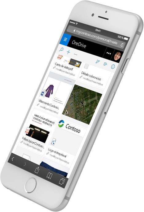 Smartphone affichant SharePoint avec différents types de fichiers. Consultez des informations sur SharePoint Server 2016 sur le site Microsoft TechNet