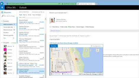 Gros plan de la boîte de réception d'un utilisateur dans Outlook Web App, avec Exchange.