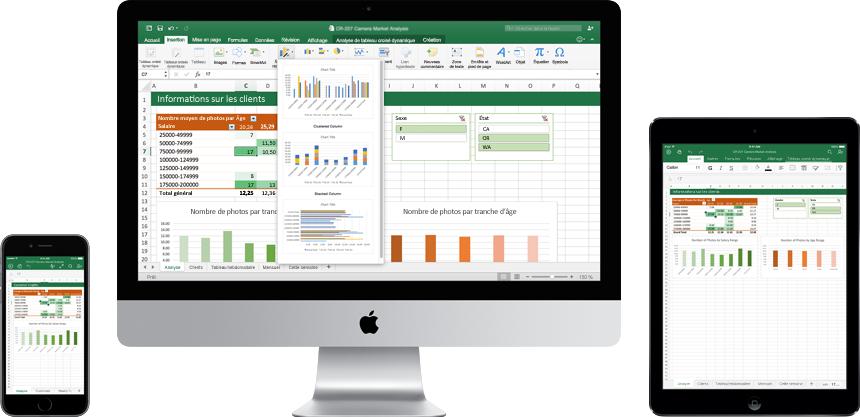 iPhone, écran de Mac et iPad affichant le nouvel Excel pour Mac en cours d'utilisation.