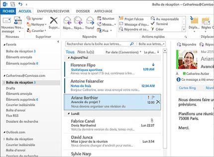 Capture d'écran de la boîte de réception Microsoft® Outlook®2013 avec une liste de messages et un aperçu.