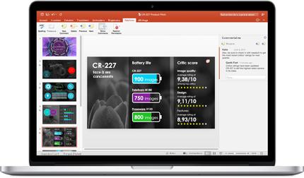 Ordinateur portable affichant les diapositives d'une présentation PowerPoint réalisée par une équipe.