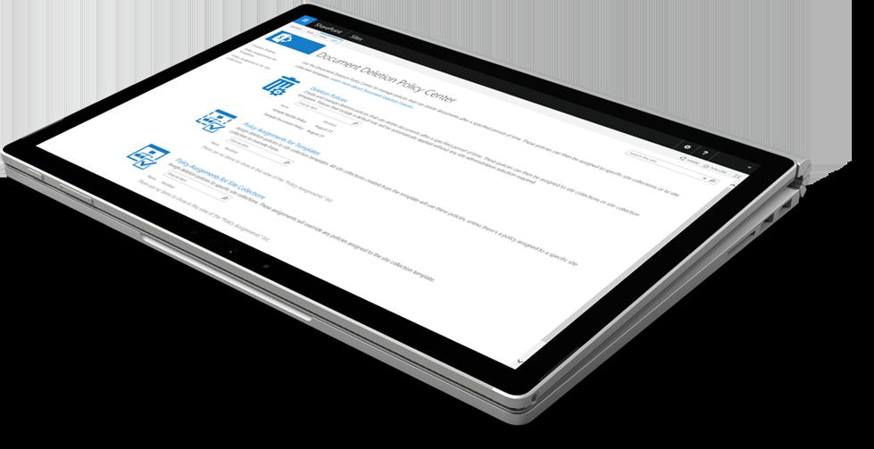 Capture d'écran du Centre de stratégies de suppression de documents dans SharePoint.