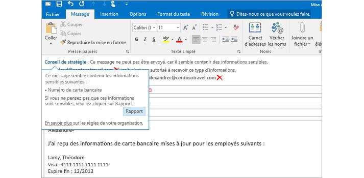 Gros plan d'un e-mail contenant un conseil de stratégie destiné à éviter que des utilisateurs envoient des informations sensibles