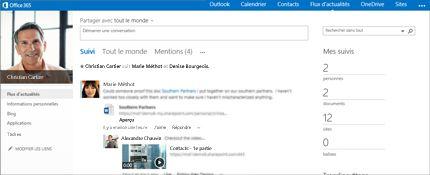 Capture d'écran d'un flux d'actualités SharePoint avec l'option Partager avec tout le monde visible.