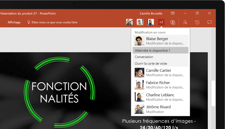 Ordinateur portable affichant les diapositives d'une présentation PowerPoint sur laquelle une équipe a collaboré.