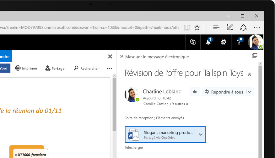 Exchange 2016 sur une tablette PC Windows