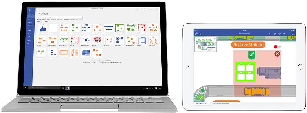 Diagrammes Visio Online Plan 2 affichés sur un ordinateur portable et un iPad.
