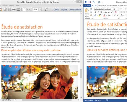 Ordinateur affichant deux dispositions différentes côte à côte dans un même document Word.