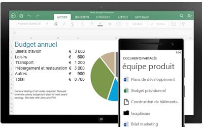 Une tablette affichant un budget annuel et un smartphone affichant les documents partagés d'une équipe.