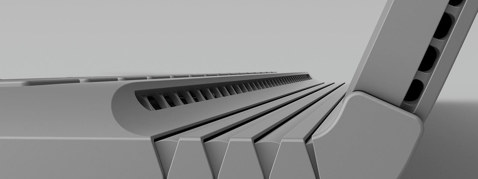 Gros plan sur la charnière du Surface Book qui donne sur une vidéo des fonctionnalités de l'appareil.