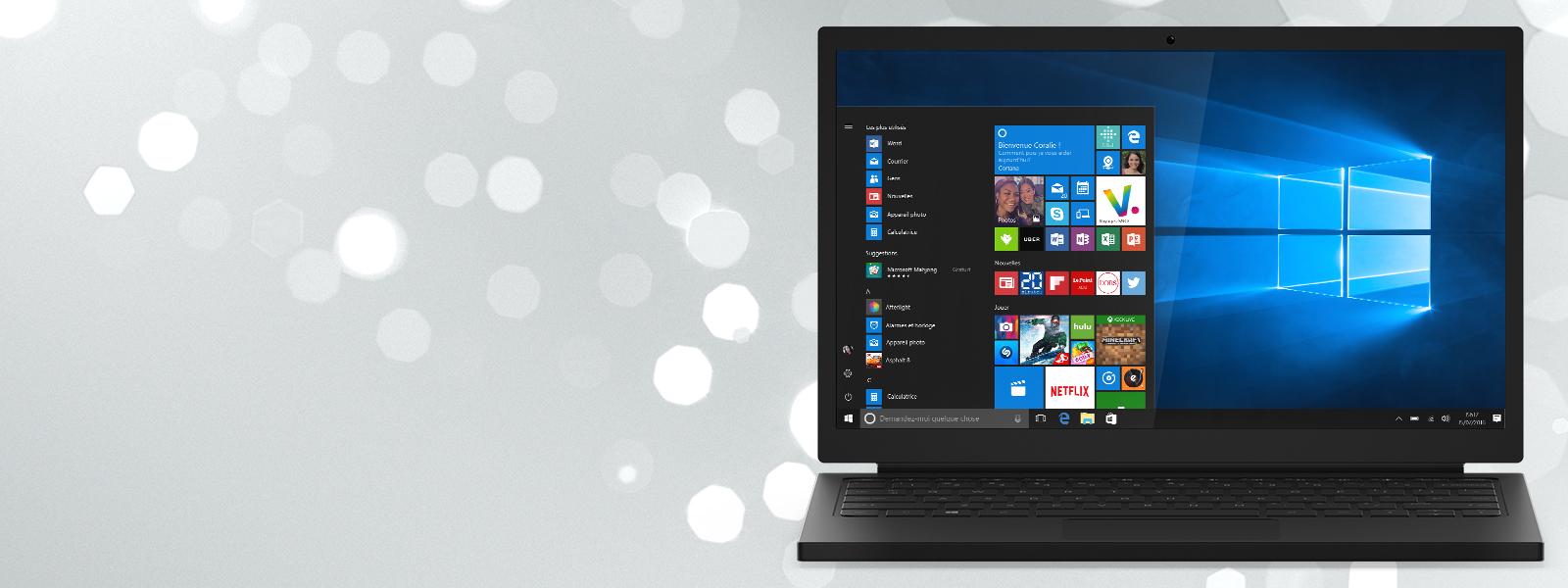 Un ordinateur portable avec écran de démarrage Windows