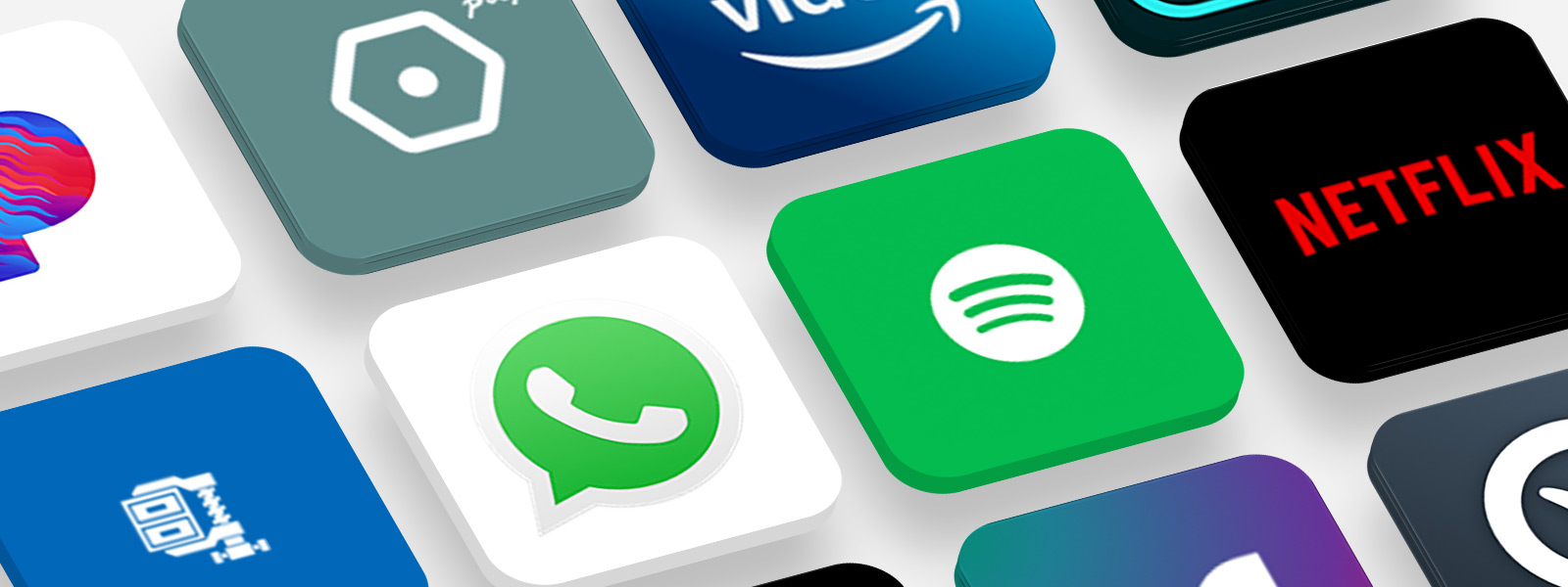Nombreux logos d'applications populaires
