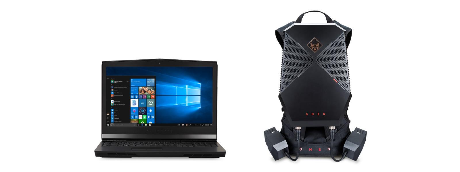 Vue inclinée avant du Dell Alienware 17 R4 et vue inclinée avant du HP OMEN.