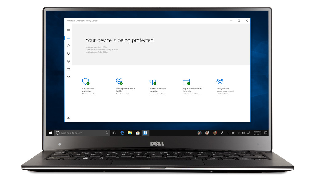 Un ordinateur portable affichant la fenêtre du Centre de sécurité Windows Defender dans Windows 10