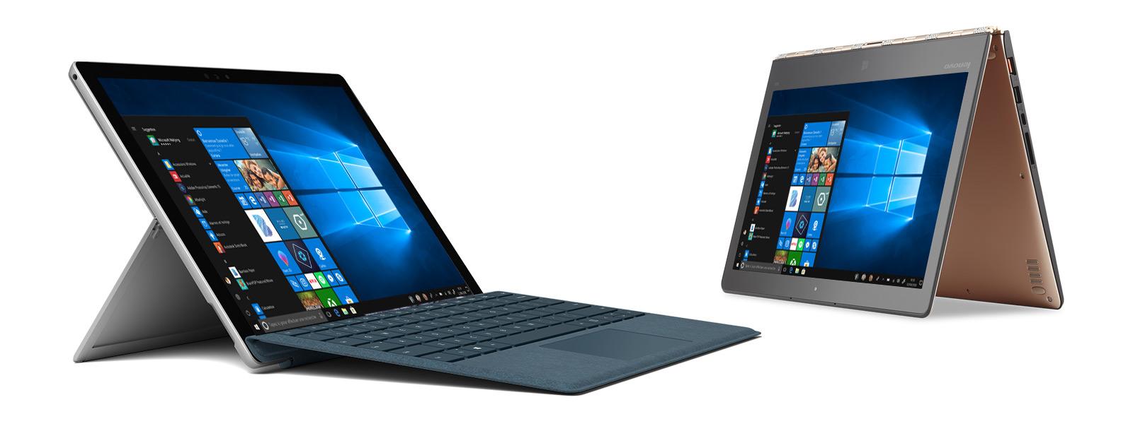 Vue inclinée de droite de la Microsoft Surface Pro et vue inclinée de gauche du HP Spectre x360 en position chevalet.