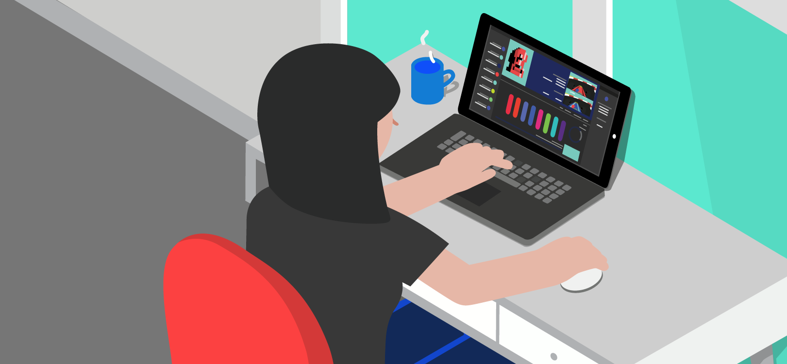 Femme à son bureau, devant un ordinateur portable