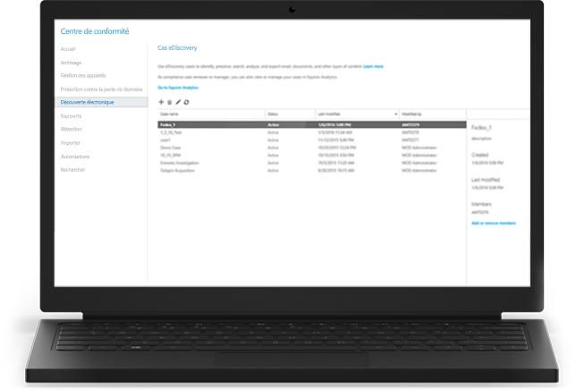 Un ordinateur portable affichant les cas eDiscovery Office365 dans le centre de conformité