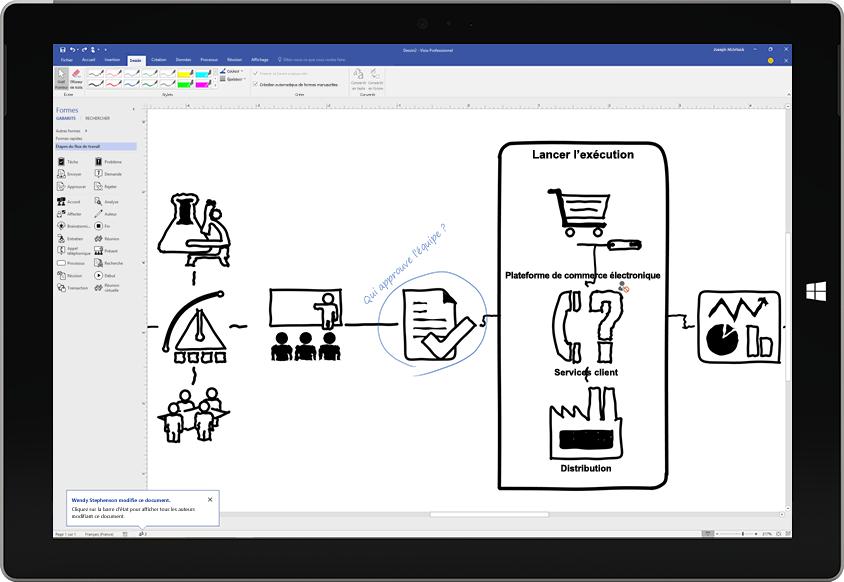 Tablette Surface affichant un diagramme de processus tracé sur l'écran à l'aide d'un stylet dans Visio