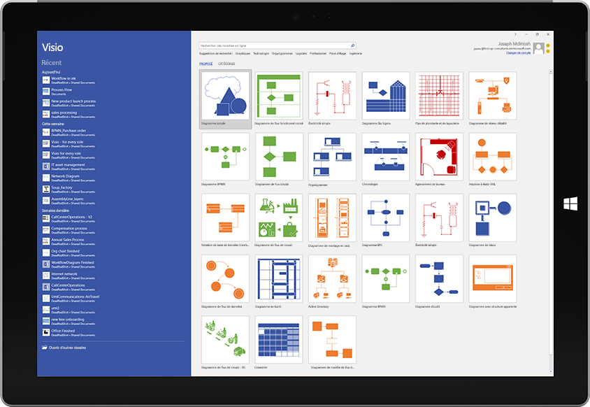 Tablette Microsoft Surface affichant les modèles disponibles et la liste des fichiers récents dans Visio