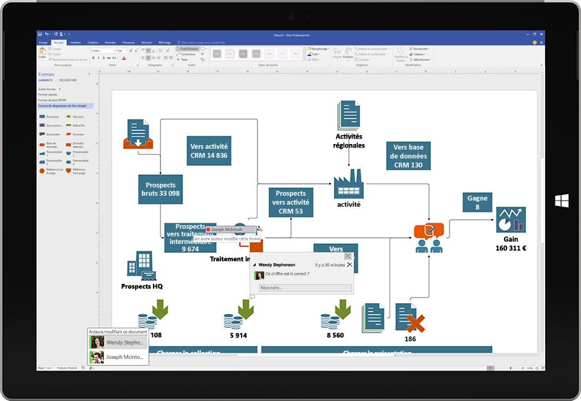 Tablette Surface montrant une collaboration sur un diagramme Visio, avec des commentaires d'autres utilisateurs affichés à l'écran