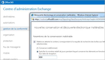 Gros plan de la page Découverte électronique et conservation inaltérables dans le Centre d'administration Exchange.