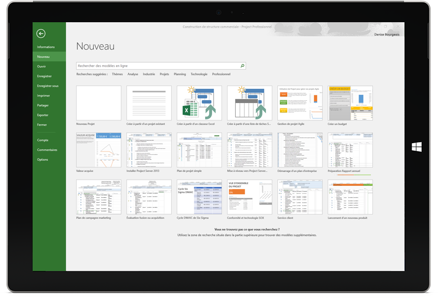Tablette Microsoft Surface affichant la fenêtre Nouveau projet dans Project Professionnel