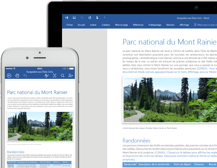 Ordinateur portable et iPhone affichant un document Word