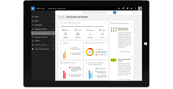 Tablette affichant les fonctionnalités de Gouvernance des données dans Office365