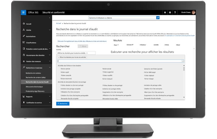 Écran affichant des tâches d'audit et de création de rapports au sein de Solutions de conformité Office365
