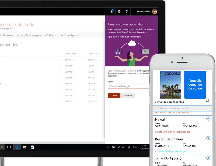 Ordinateur portable affichant une liste de demandes de congé SharePoint et un écran de création d'application PowerApps, à côté d'un smartphone affichant une création de demande de congé dans PowerApps
