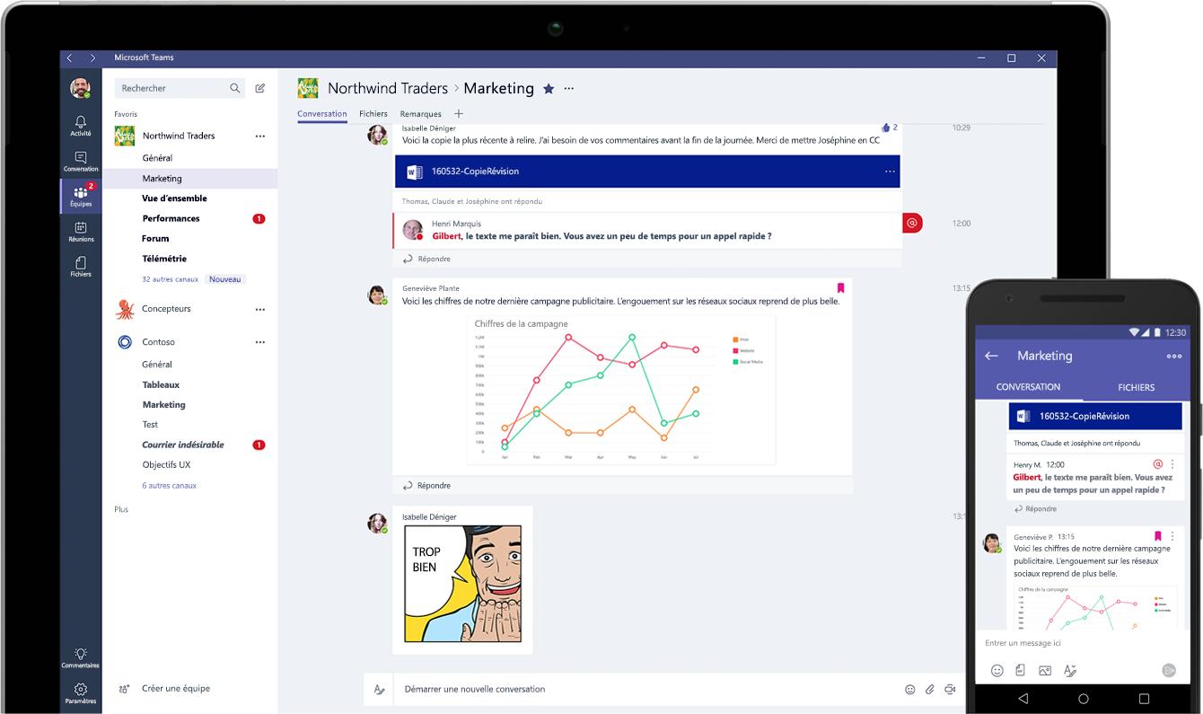 Tablette et smartphone affichant des conversations instantanées dans Microsoft Teams