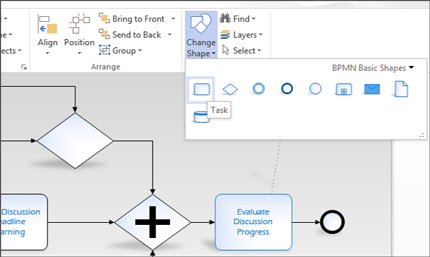 Gros plan du ruban sur un diagramme Visio, qui vous permet d'accéder facilement aux tâches.