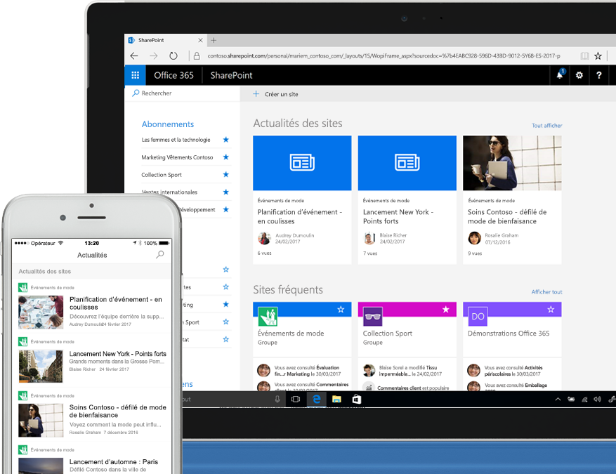 Smartphone et ordinateur portable affichant des actualités SharePoint issues de sites intranet