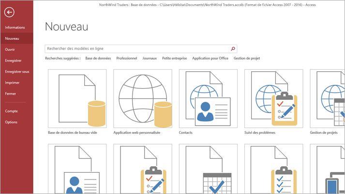 Écran Nouvelle base de données dans Microsoft Access