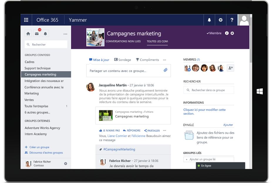 Yammer le r seau social d 39 entreprise rse d 39 office 365 - Activate yammer office 365 ...