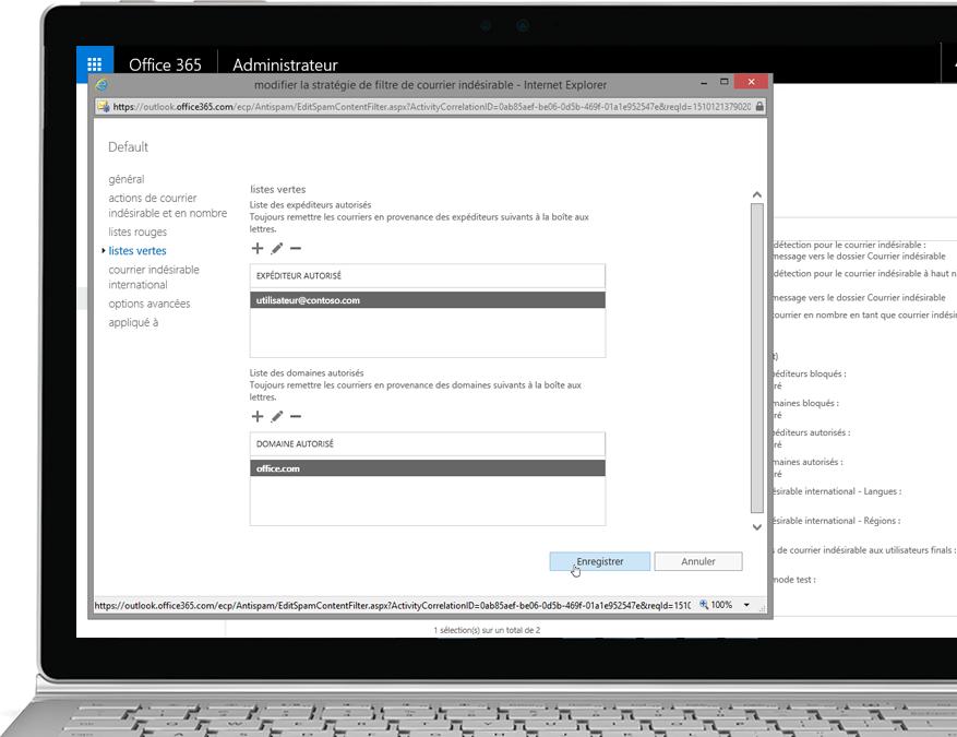 Stratégie de filtrage d'Exchange Online Protection dans Office365 sur un ordinateur portable Windows