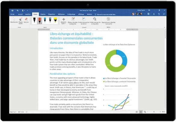 Utilisation de la fonctionnalité Correction intégrée dans un document Word sur une tablette Surface
